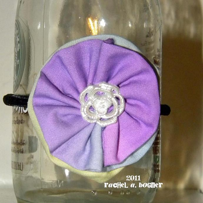 Purple and Green Fabric Flower Barrette - 42
