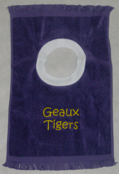 Geaux Tigers Purple Fringed Terry Velour Baby Bib