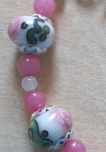 Lampwork OOAK Pink Candy and Snow Jade Swirl Bracelet with Hand Hammered Silver