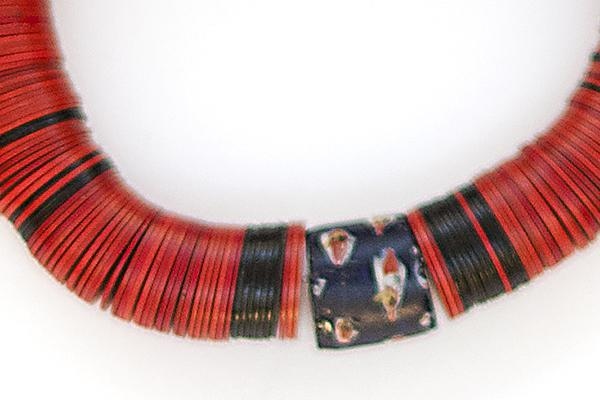 Red vulcanite stretch bracelet with African trade bead