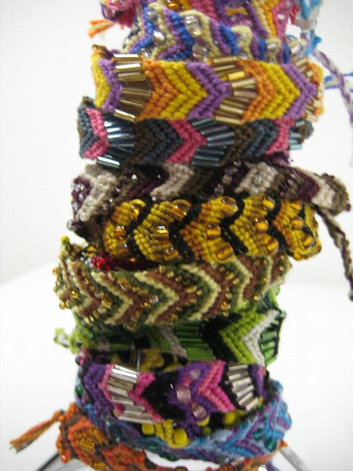 Grab Bag of Beaded Chevron Micro Macrame Friendship Bracelet Set of 5