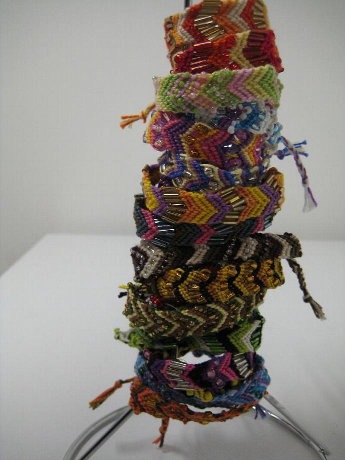 Grab Bag of Beaded Chevron Micro Macrame Friendship Bracelet Set of 10