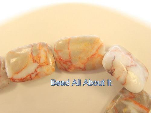 Red Vein Jasper 25x18mm rectangle beads strand