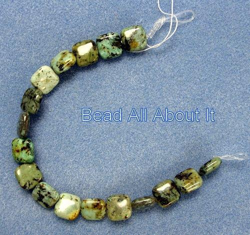African Turquoise 12mmPuffed Square Beads Strand