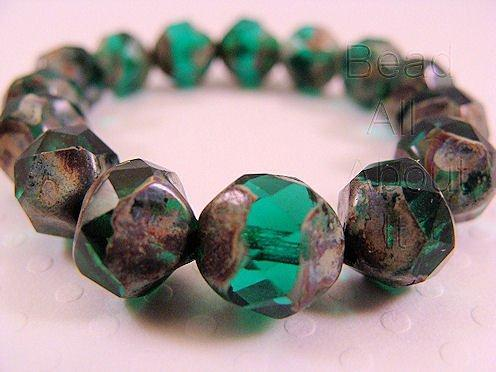 Czech glass Emerald with Picasso Finish 8mm Strand