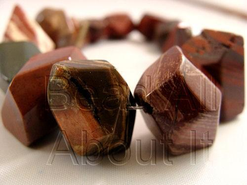 Poppy Jasper Faceted Nugget Beads Strand