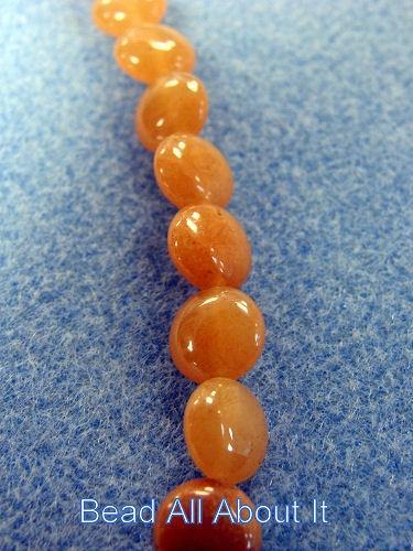 Red Aventurine 8mm Coin Beads Strand