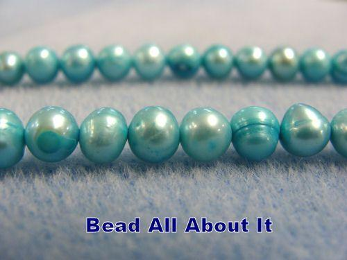 Freshwater Off Shape 6-7mm Pearls Sky Blue Strand