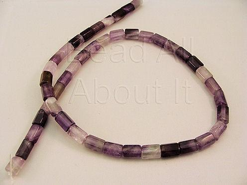 Amethyst 9x6mm hexagon tube semi precious strand
