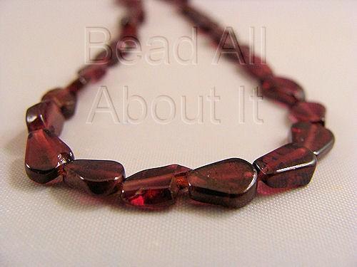 Red Garnet Pear Shape Beads Strand