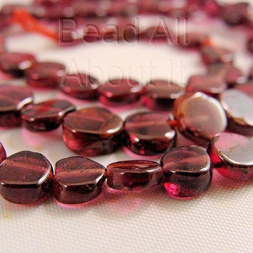 Red Garnet 5mm irregular cut coin beads strand