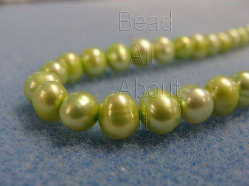 Freshwater 6-7mm Pearls Grassy Green Strand