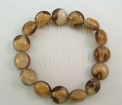 Czech Glass Smokey Brown 10mm Lentils Strand