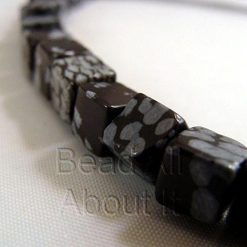 Snowflake Obsidian 6mm Cube Beads Strand