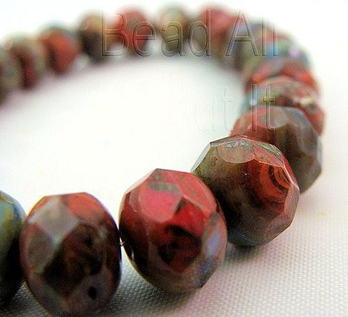 Czech Glass Multicolor 8x5mm Faceted Rondelle beads