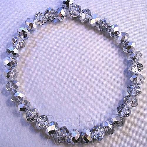Chinese Crystals 8x5mm Faceted Rondelles Silver Metallic Beads Strand
