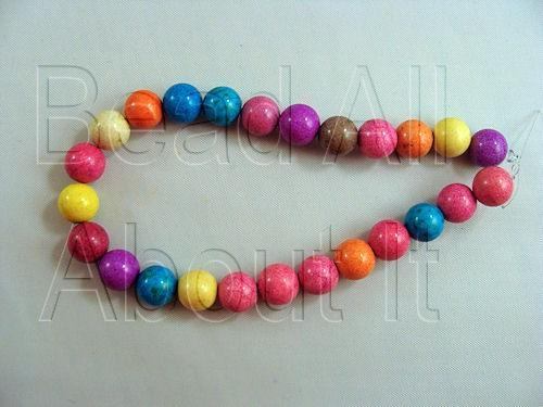 Howlite Dyed Multi-Color 8mm Round Beads Semi Precious Strand