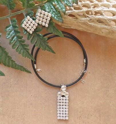 Rhinestones on black leather pendant and earrings with custom cord N93