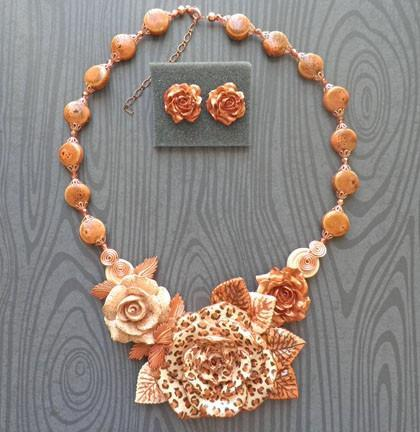 Leopard animal print rose copper bib necklace and earring set N80