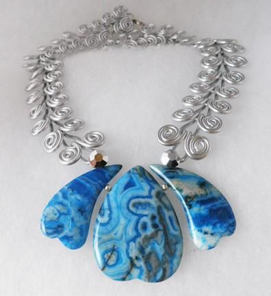 Silver and blue crazy lace agate  Egyptian swirl coil necklace  N16