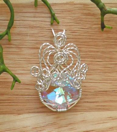 AB crystal pendant wrapped in Sterling silver wire   P229
