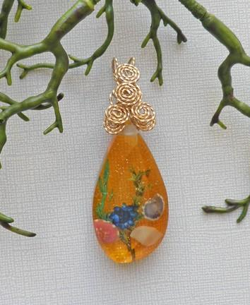 Sea life acrylic amber color pendant with gold filled wire bale  P90