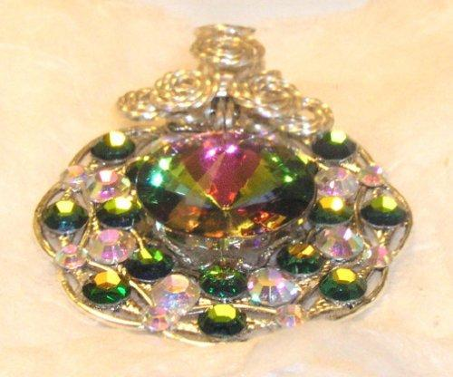 Lacy filigree Vitrail crystal pendant with sterling silver bale  P54