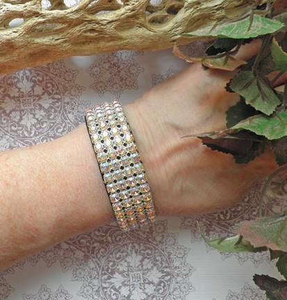 AB rhinestone wide black leather bangle cuff style snap bracelet B68