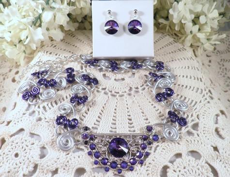 Silver purple heliotrope fancy lacy swirl necklace earring set   N22