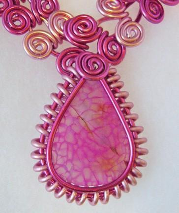 Egyptian swirl or coil necklace in fuschia and pink with removable pink agate