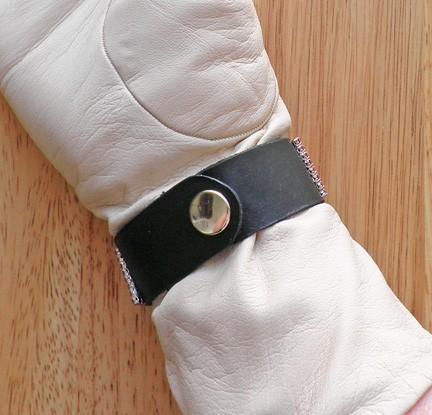 7 inch vintage Swarovski rose rhinestone buckle on black leather cuff bangle