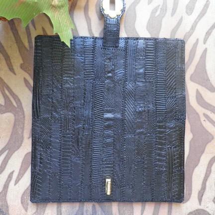 Womens skinny or flat wallet of genuine black patchwork lizard handcrafted W28