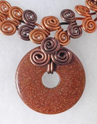 Goldstone removable pendant on copper brown Egyptian swirl coil necklace N13