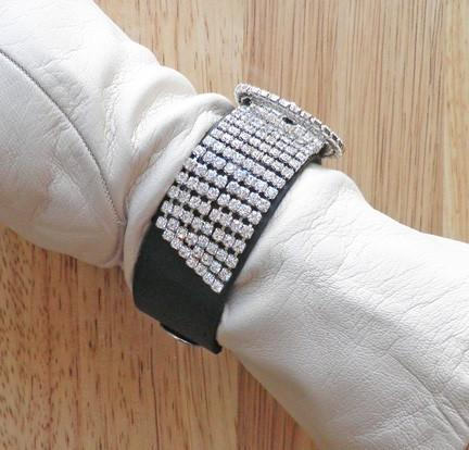 Black leather snap cuff bangle bracelet with vintage Swarovski rhinestone buckle