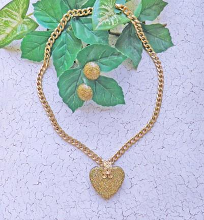 Heart of gold AB glitter necklace on chunky gold chain with earrings N63
