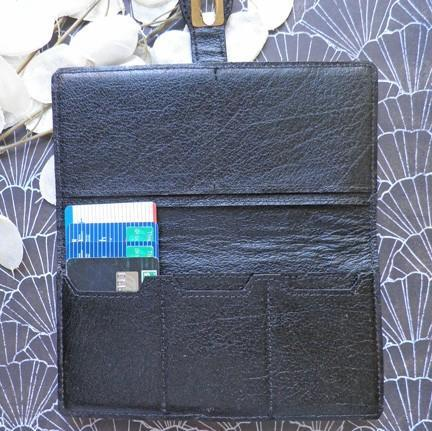Genuine ostrich patchwork black handcrafted womens skinny wallet W29
