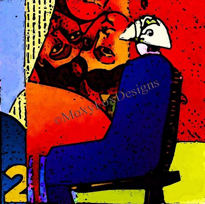 Art -- GALLERY TWO Fine Art Print, Collage, Whimsical, Zany, Seated Woman, White