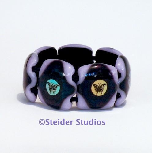 Designer Chunky Art Glass Bracelet, Lavender with MultiColor Butterflies on Dark