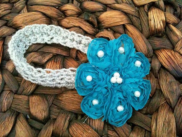 Pearl Petal Headband- Turquoise