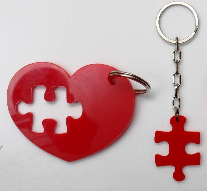 Puzzle Heart Keychain,Plexiglass Accessories,Lasercut Acrylic,Gifts Under 25
