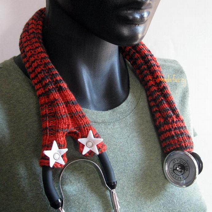 hand knitted stethoscope cozy with stars