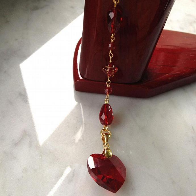 Blood Red Swarovski Crystal Heart Necklace