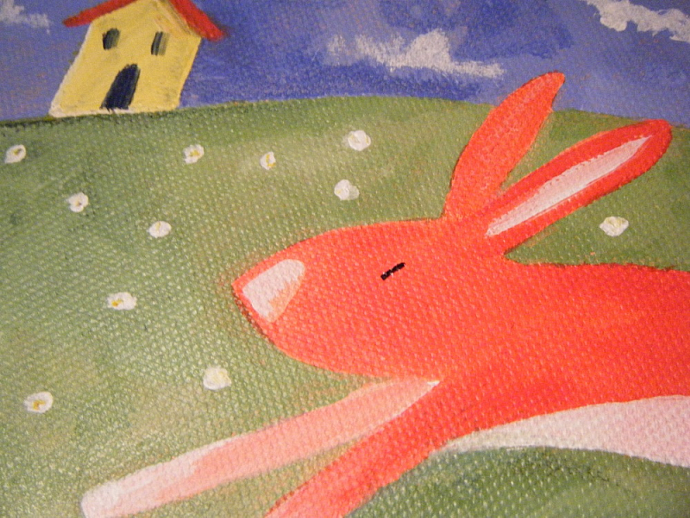 Red Rabbit - Original Painting on Canvas