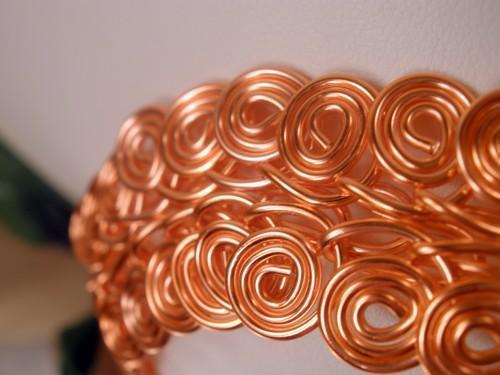 Egyptian swirl peach silver wire cuff bracelet