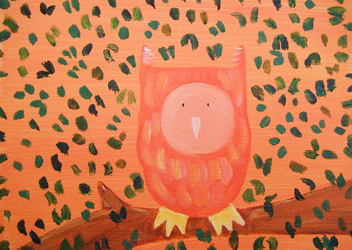 Small Owl - Original Painting on Canvas