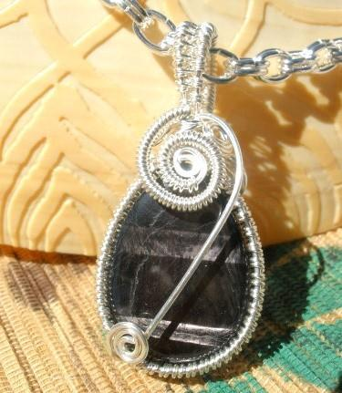 Black shimmer banded gemstone drop wire wrapped chain necklace