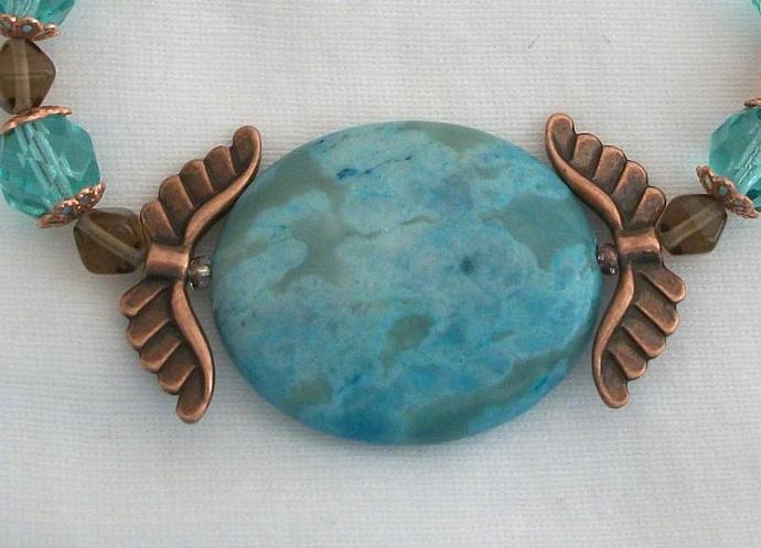 Dyed Turquoise Jasper Cleopatra Copper Bracelet