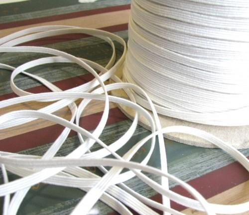 White Skinny Sewing and Crafting Elastic, 10 Yards Continuous Length