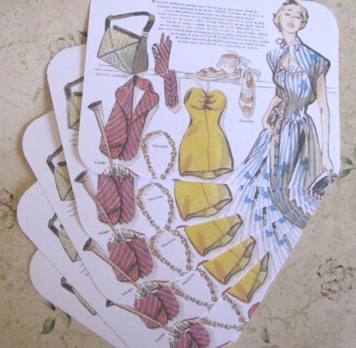 Paris Mid Century Fashions Stationery Note Flat Set