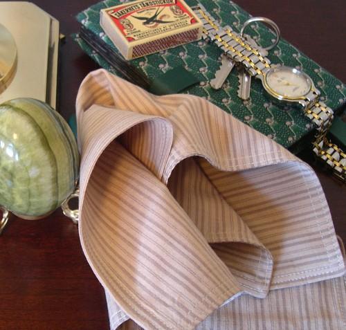 Classic Handkerchief Square Fashion Accessory in Striped Shirting Cotton